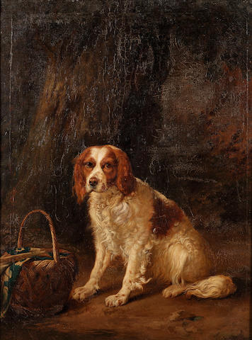 Emmanuel Noterman (Belgian 1808-1863) A red and white spaniel seated by a tree 100.5 x 78 cm. (39 1/2 x 30 3/4 in.)