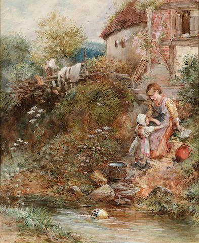 Myles Birket Foster R.W.S. (British, 1825-1899) The washing day 41.3 x 33.6 cm. (16 1/4 x 13 1/4 in.)