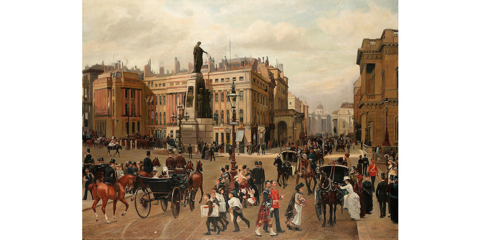 Filippo Baratti (Italian 19th Century) Waterloo Place 96.5 x 126 cm. (38 x 49 3/4 in.)