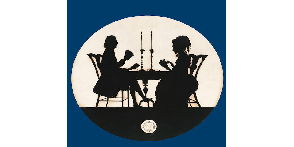 Francis Torond (British, c.1743-1812) : A silhouette conversation piece of James and Florence Lowthe