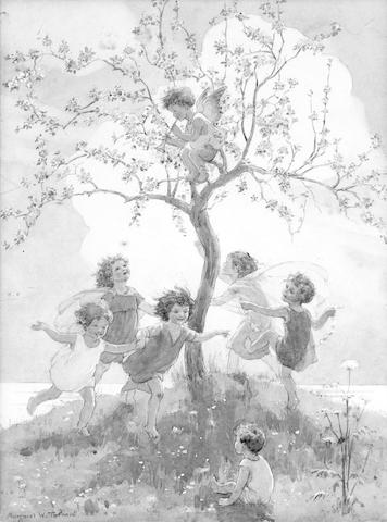 "TARRANT (MARGARET WINIFRED) Original watercolour, entitled ""Springtime"" on verso, depicting five girls dancing around a blossoming tree, a winged cherub perched in the branches playing a trumpet, a smaller child on"