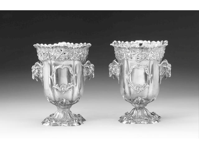 A pair of 19th century electroplated wine coolers, unmarked,