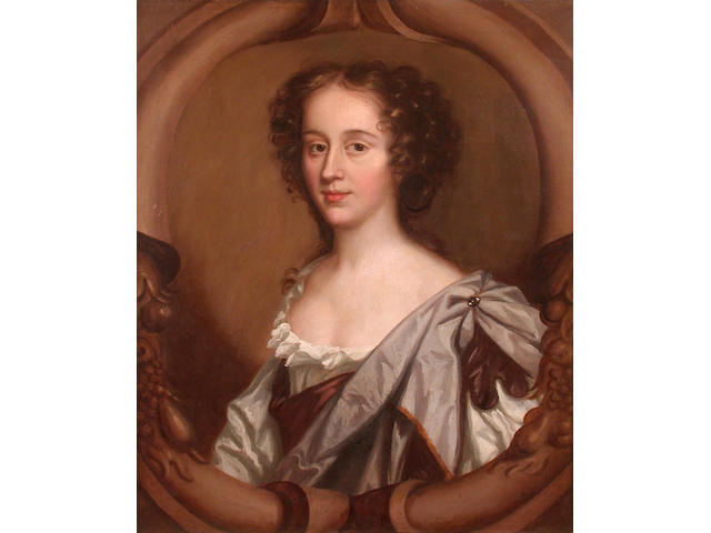 Studio of Mary Beale (Suffolk, 1632-1697) Portrait of a lady, half length in a carved stone oval 76 x 63.5cm