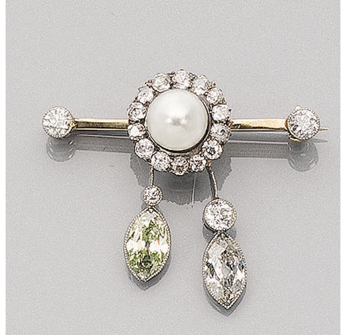 A Late-Victorian Diamond and Pearl Brooch,