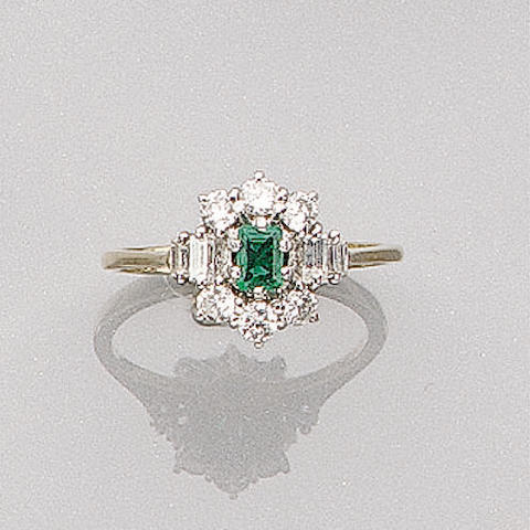 A Diamond and Emerald Ring, (3)