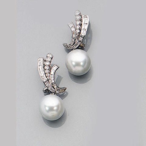 A Pair of South Sea Cultured Pearl and Diamond Earpendants
