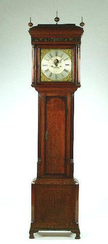 A late 18th century oak and mahogany longcase clock, by David Collier of Gatley, 237cm high.