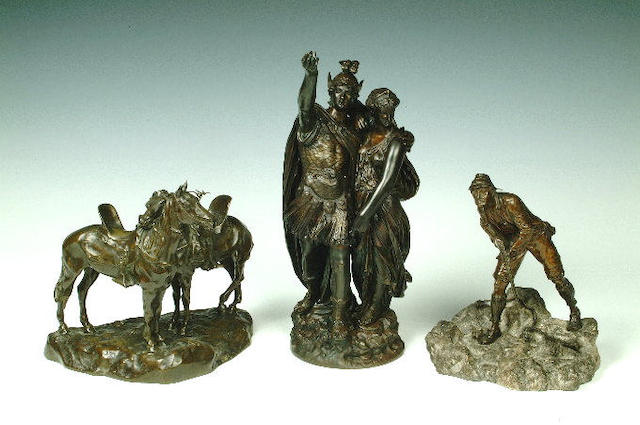 After L Grégoire,  A bronze figure of a Classical warrior and a maiden,  42cm high.