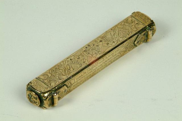 A mid 17th century brass pocket seal box,  13cm long.
