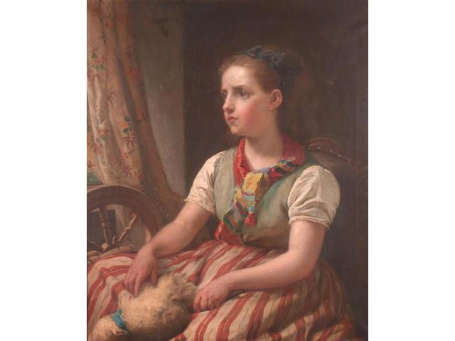 Jules van Keirsbilck (Belgian, 1833-1896) A rest from spinning, 79.8 x 66.8cm
