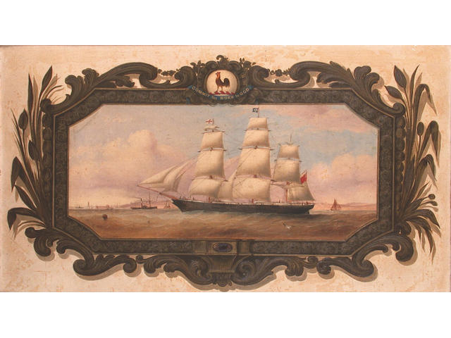 English School, 19th Century Portrait of a full-rigged ship, probably the 'Slieve Donard', off Liverpool 36.9 x 65.2cm