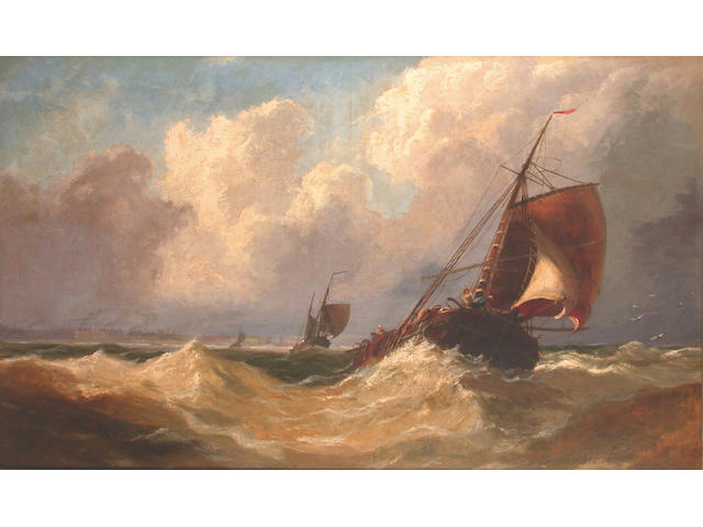 John Callow (British 1822-1878) Coasters reducing sail in a heavy swell offshore 30 x 50 in. (73 x 124 cm.)