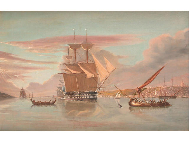 "Circle of William Joy (British, 1803-1867) H.M.S. ""Asia"", 84 guns, off Lisbon, flying the flag of Rear-Admiral Sir William Parker Bt., pt with a squadron in the Tagus to protect British interests during the Civil War of 1834 49 x 74.3cm"