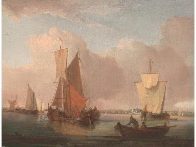 Attributed to William Anderson (British, 1757-1837) Barges drying their sails on an East Anglian estuary 19.5 x 25cm