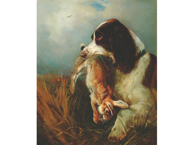 William Woodhouse (1857-1939) A spaniel holding a rabbit 61 x 51cm