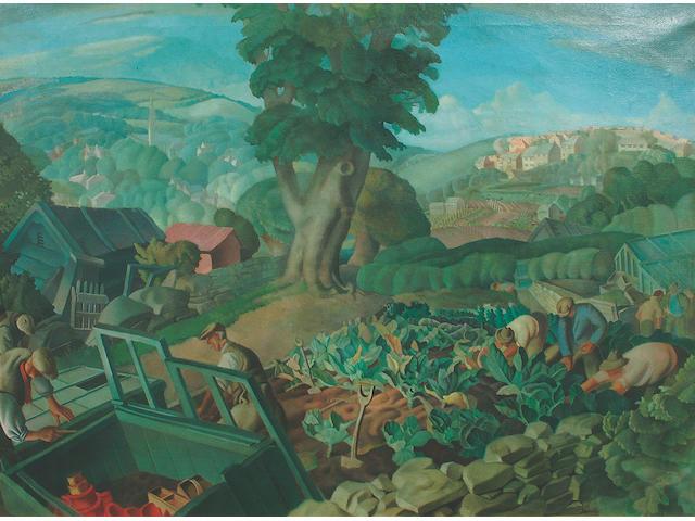 "Harry Epworth Allen R.B.A., P.S. (1894-1958) ""The Allotment"" 72 x 97.5 cm"