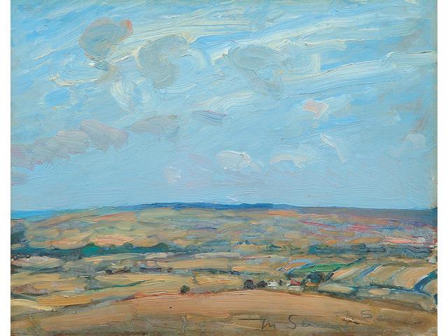 Mark Senior (1864-1927) Rural landscape with sea beyond