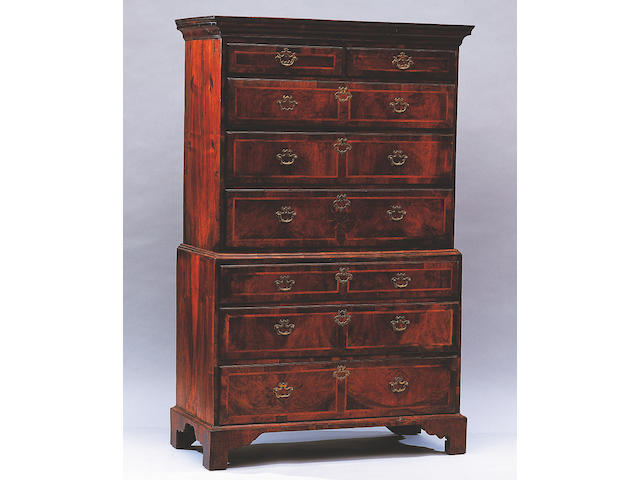 George I walnut tallboy chest