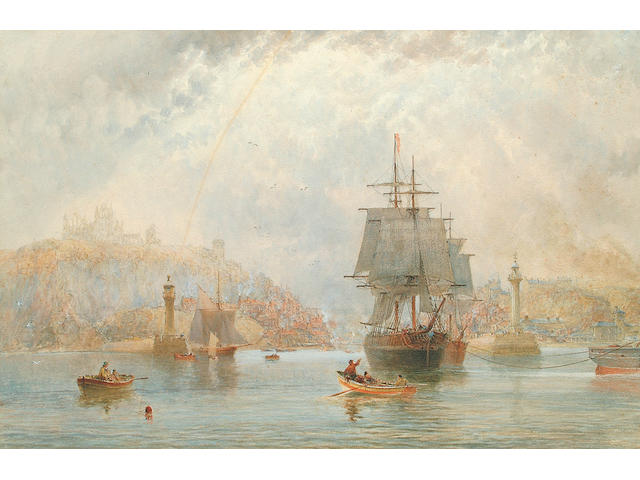 Attributed to Richard Weatherill (1844-1930) Harbour with Shipping 48 x 72 cm