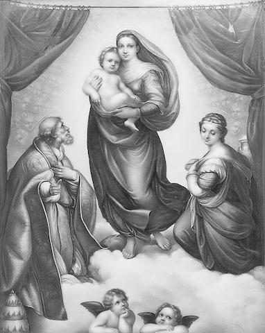 A Berlin plaque of the Sistine Madonna and Child, after Raphael,