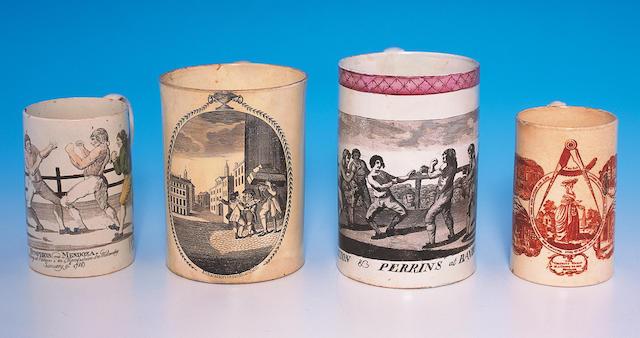 A large pearlware mug of Pugilist interest,