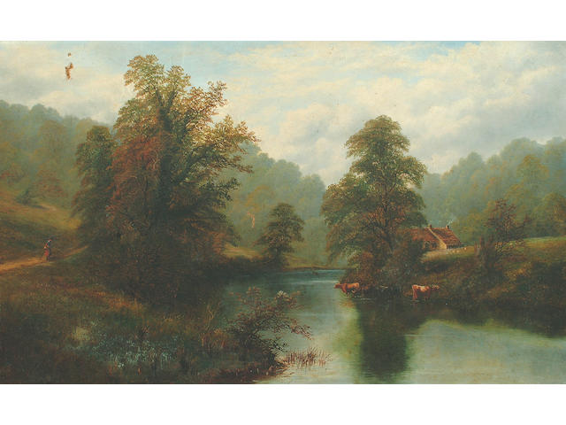 William Mellor (1851-1931) Cattle watering with a figure on a woodland track, possibly a stretch on the river Wharfe  72 x 117 cm