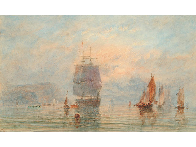 George Weatherill (1810-1890) Shipping off the north east coast 12 x 20 cm