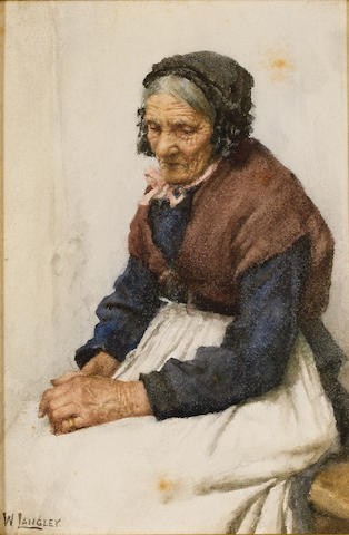 Walter Langley (1852-1922) Old fishwife 22 x 14.5 cm. (8 5/8 x 5 3/4 in.)