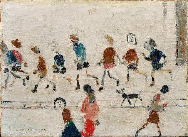 Laurence Stephen Lowry R.A. (1887-1976) Children Playing 12.5 x 17 cm. (4 7/8 x 6 3/4 in.)