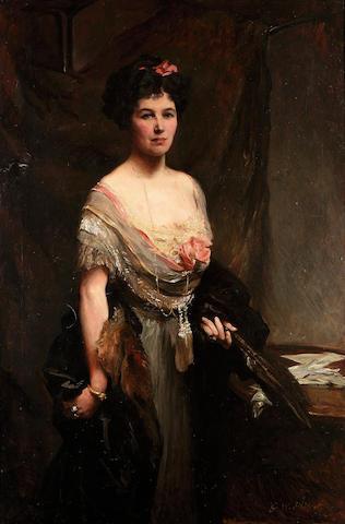 Glyn Philpot R.A. (1884-1937) Three-quarter length portrait of a lady 138 x 92 cm. (54 1/4 x 36 1/4 in.)