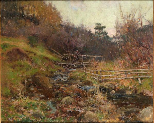 Samuel John Lamorna Birch R.A. (1869-1955) Crossing the stream 51 x 62 cm. (20 x 24 3/8 in.)