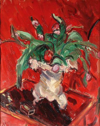 Sir Matthew Arnold Bracy Smith L.G. (1879-1959) Flowers in a jug, red background 80.5 x 60 cm. (31 3/4 x 23 5/8 in.)