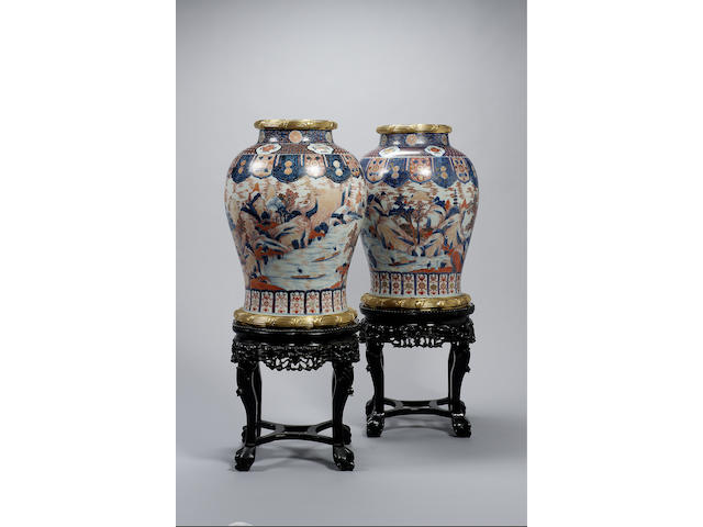 Pair Chinese Imari vases (restored) with wood stands
