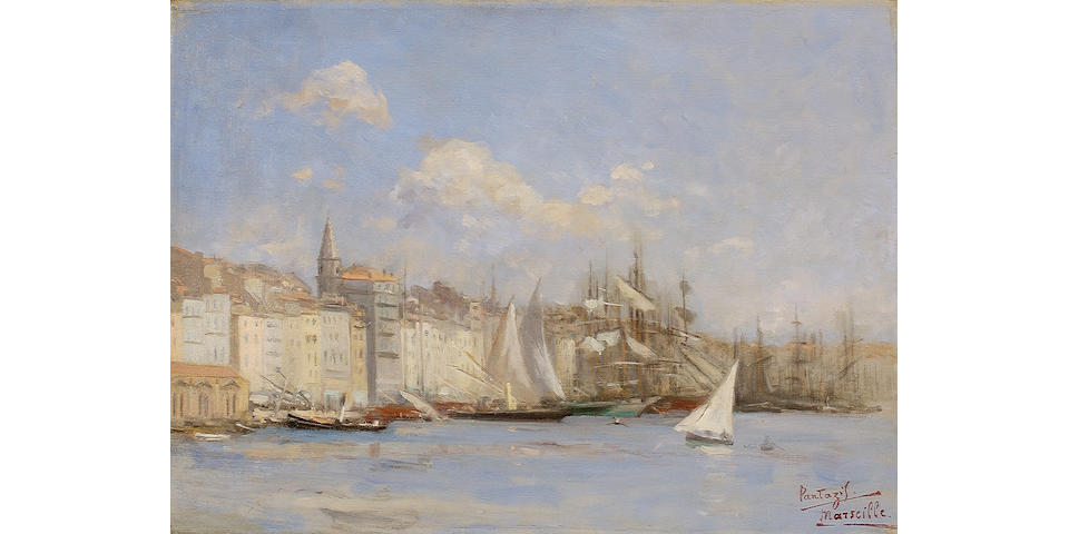 Pericles Pantazis (Greek 1849/50-1884) The port of Marseille 41 x 55 cm. (16 1/8 x 21 7/8 in.) Painted in 1880.