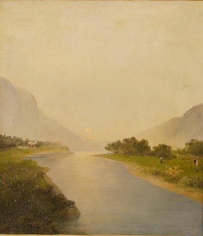 Constantinos Volanakis (Greek 1837-1907) Before dusk 67.5 x 60 cm. (26 ½ x 23 5/8 in.)