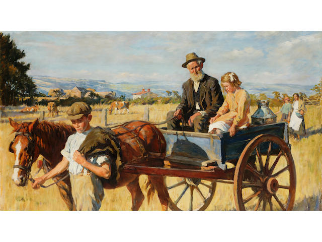 Stanhope Alexander Forbes R.A. (1857-1947) The short cut across the fields 100.5 x 127 cm. (39 1/2 x 50 in.)