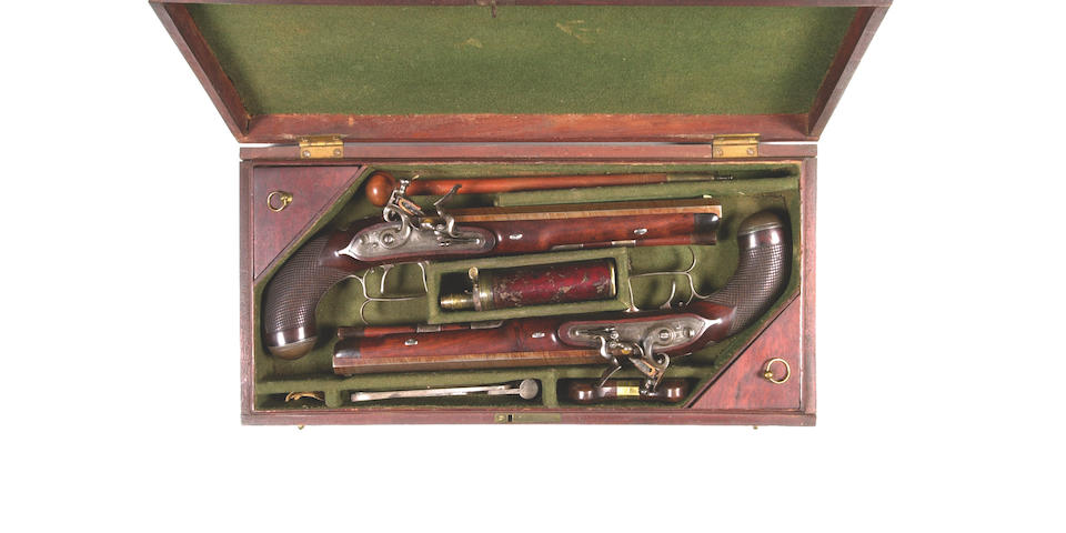 A Cased Pair Of 32-Bore Flintlock Duelling Pistols By Tatham & Egg Of London, No. 777, Circa 1812-14 23.5 cm. barrels