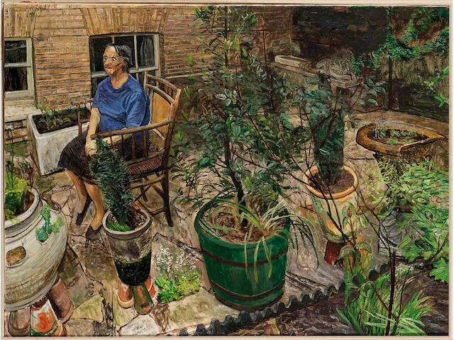 Carel Weight RA (1908-1997) 'Woman in a garden' 91.5 x 122.5cm (36 x 48in)