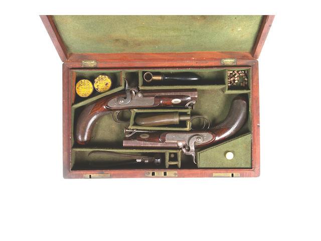 2 pairs of pistols, cased