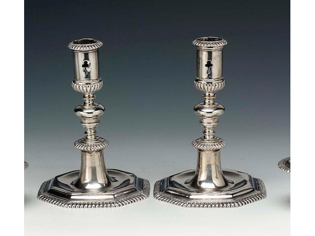 A pair of early 18th Century Dutch candlesticks by Rudolf Somers, Maastricht, circa 1710 (maker's mark only),