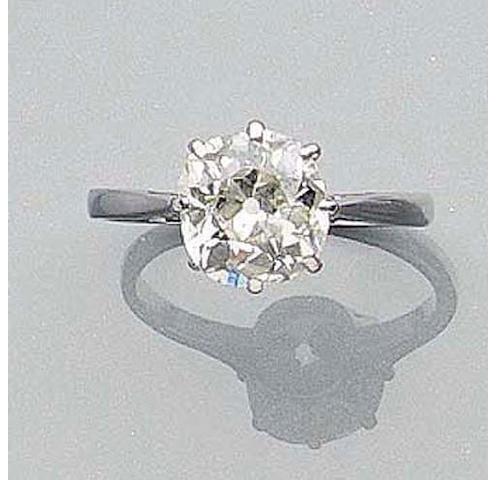 A Cushion-Cut Diamond Single-Stone Ring