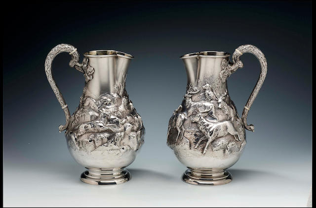 Hunting interest:- A pair of Victorian ewers by James Barclay Hennell, 1882/1883,