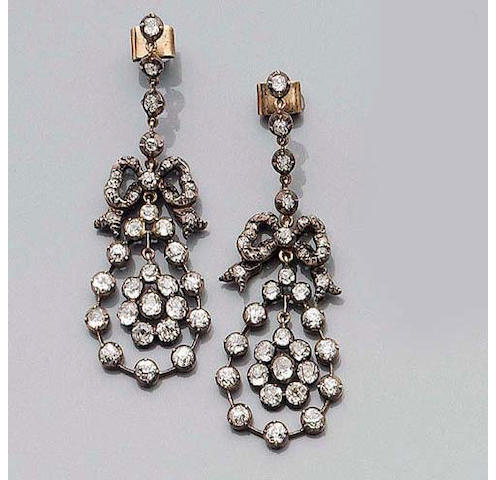 A Pair of Late-Victorian Diamond Earpendants