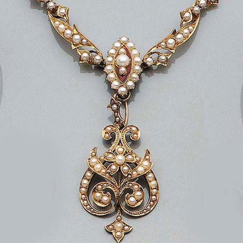 A Late-Victorian Half Pearl Collar and Pendant