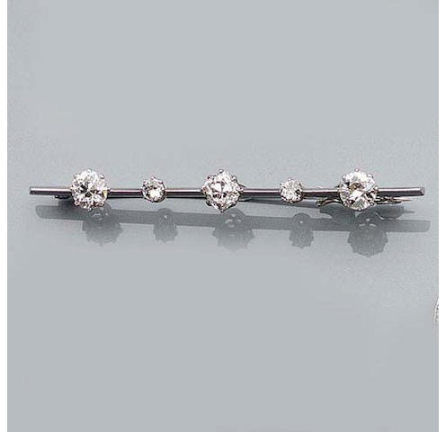 A Diamond Bar-Brooch