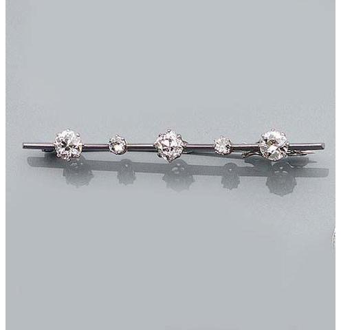 A Diamond Bar-Brooch