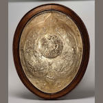 A large Victorian gilt electrotype plaque modelled as the Milton Shield,