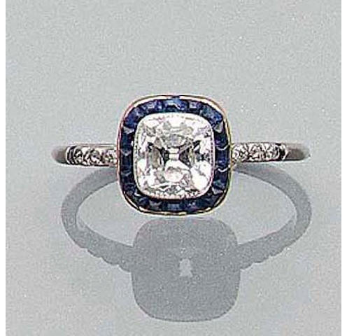 An Edwardian Diamond and Sapphire Ring