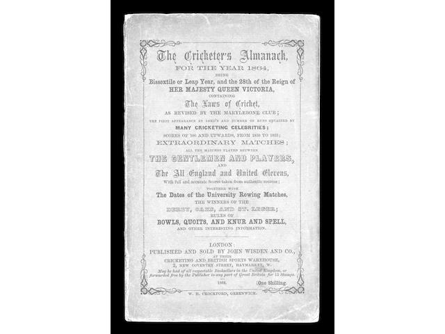 WISDEN (John), CRICKETERS' ALMANACK,