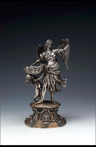 An Italian Baroque figural holy water stoup, unmarked, Roman School, probably early 18th Century,